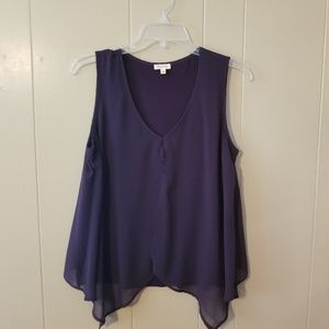 NWOT Purple Sleeveless Top with Chiffon Overlay